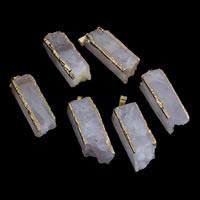 Natürliche Quarz Druzy Anhänger, Rosenquarz, mit Messing Stiftöse, goldfarben plattiert, druzy Stil, 13x40mm-15x45mm, Bohrung:ca. 3x6mm, verkauft von PC