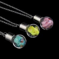 Glassturz Halskette, Glas, mit Messingkette & Seidenspinnerei & Strass, Platinfarbe platiniert, Rolo Kette, keine, 16x30mm, verkauft per ca. 18 ZollInch Strang