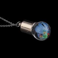 Glas Halskette, mit Messingkette & Seidenspinnerei & Strass, rund, plattiert, Oval-Kette, 16x30mm, verkauft per ca. 17 ZollInch Strang