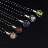 Glassturz Halskette, Glas, mit Messingkette & Seidenspinnerei & Strass, Platinfarbe platiniert, Kastenkette, keine, 16x30mm, verkauft per ca. 18 ZollInch Strang