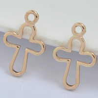 24K Gold Anhänger, Messing, Kreuz, 24 K vergoldet, frei von Blei & Kadmium, 8x12mm, Bohrung:ca. 1-2mm, 100PCs/Tasche, verkauft von Tasche