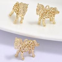 24K Gold Anhänger, Messing, Pferd, 24 K vergoldet, hohl, frei von Blei & Kadmium, 18x6x15mm, Bohrung:ca. 1-2mm, 20PCs/Tasche, verkauft von Tasche