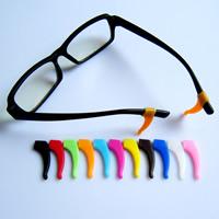 Silikon Gläser Ohrbügel, gemischte Farben, 14x35mm, Bohrung:ca. 6x2.5mm, 100PCs/Tasche, verkauft von Tasche