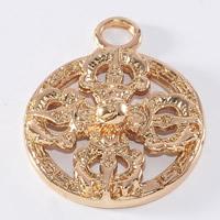 24K Gold Anhänger, Messing, flache Runde, 24 K vergoldet, frei von Blei & Kadmium, 20mm, Bohrung:ca. 1-2mm, 20PCs/Tasche, verkauft von Tasche