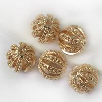 24K Gold Perlen, Messing, Trommel, 24 K vergoldet, hohl, frei von Blei & Kadmium, 12x11.5mm, Bohrung:ca. 1.5mm, 20PCs/Tasche, verkauft von Tasche
