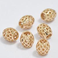 24K Gold Perlen, Messing, Trommel, 24 K vergoldet, hohl, frei von Blei & Kadmium, 6.5x7mm, Bohrung:ca. 3-4.5mm, 20PCs/Tasche, verkauft von Tasche