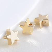 24K Gold Perlen, Messing, Stern, 24 K vergoldet, verschiedene Größen vorhanden, frei von Blei & Kadmium, Bohrung:ca. 1.2mm, 100PCs/Tasche, verkauft von Tasche