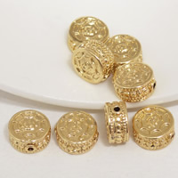 24K Gold Perlen, Messing, flache Runde, 24 K vergoldet, frei von Blei & Kadmium, 11x6mm, Bohrung:ca. 1.5mm, 20PCs/Tasche, verkauft von Tasche