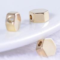 24K Gold Perlen, Messing, Achteck, 24 K vergoldet, frei von Blei & Kadmium, 5mm, Bohrung:ca. 1mm, 20PCs/Tasche, verkauft von Tasche