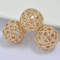 24K Gold Perlen, Messing, rund, 24 K vergoldet, hohl, frei von Blei & Kadmium, 12mm, Bohrung:ca. 1-2mm, 20PCs/Tasche, verkauft von Tasche