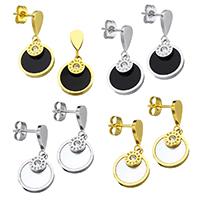 Edelstahl Tropfen Ohrring, mit Harz, flache Runde, plattiert, mit römischen Zahl & mit Strass, keine, 11.5x14x3mm, 24.5mm, verkauft von Paar