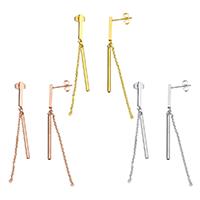 Edelstahl Tropfen Ohrring, plattiert, keine, 2x30x2mm, 2x1.5x0.5mm, 65mm, verkauft von Paar