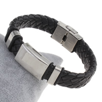 Unisex-Armband & Bangle, Edelstahl, mit PU Leder & Silikon, 16x25x7mm, verkauft per ca. 7.5 ZollInch Strang