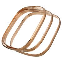 Edelstahl -Armband -Set, Rósegold-Farbe plattiert, für Frau, 6x1.50mm, Innendurchmesser:ca. 68.5x60mm, Länge:ca. 9 ZollInch, 3PCs/setzen, verkauft von setzen