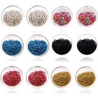 Glassturz Ohrringe, Glas, mit Glas-Rocailles, Edelstahl Stecker, flache Runde, Platinfarbe platiniert, transparent, keine, 17x17mm, verkauft von Paar