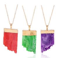 Zinklegierung Pullover Halskette, mit Eisenkette & Harz, goldfarben plattiert, Imitation Druzy Quarz & Oval-Kette, keine, frei von Blei & Kadmium, 25x55mm, verkauft per ca. 25 ZollInch Strang