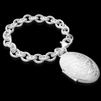 Messing Locket-Armband, flachoval, versilbert, Oval-Kette, frei von Blei & Kadmium, 27mm, verkauft per ca. 8 ZollInch Strang