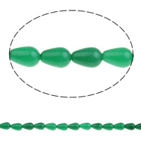 Malaysia Jade Perle, Tropfen, natürlich, 8x13mm, Bohrung:ca. 1.5mm, ca. 33PCs/Strang, verkauft per ca. 16.5 ZollInch Strang