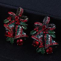 Weihnachten Broschen, Zinklegierung, Weihnachtsglocke, plattiert, Weihnachtsschmuck & mit Strass, keine, frei von Nickel, Blei & Kadmium, 27mm, verkauft von PC