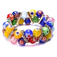 Murano Millefiori Lampwork Armband, mit Messing Strass Zwischenstück, Platinfarbe platiniert, für Frau, 19mm, Länge:ca. 8.5 ZollInch, 10SträngeStrang/Menge, verkauft von Menge