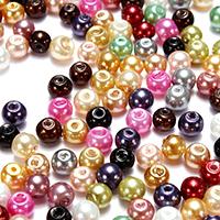 Kunststoff Perlen Perle, rund, gemischte Farben, 4-5mm, Bohrung:ca. 0.5mm, 500PCs/Tasche, verkauft von Tasche