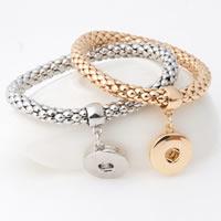 Snap-Knopf-Armband, Zinklegierung, plattiert, für Frau, keine, frei von Blei & Kadmium, 18mm, Innendurchmesser:ca. 6mm, verkauft per ca. 7 ZollInch Strang