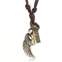 Unisex Halskette, Zinklegierung, mit Rindsleder Schnur, Flügelform, plattiert, einstellbar & mit Brief Muster, frei von Nickel, Blei & Kadmium, Länge:19.5-31.5 ZollInch, 10SträngeStrang/Menge, verkauft von Menge