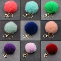 Pelzball Pom Pom Keychain, Zinklegierung, mit Hasenhaar, goldfarben plattiert, keine, frei von Nickel, Blei & Kadmium, 80mm, verkauft von PC