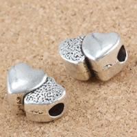 Zinklegierung Herz Perlen, antik silberfarben plattiert, frei von Blei & Kadmium, 9x13x7mm, Bohrung:ca. 3mm, 30PCs/Tasche, verkauft von Tasche