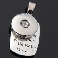 Chunk-Button-Weissgold, Zinklegierung, plattiert, Mutter Tag Schmuck & mit Brief Muster, frei von Blei & Kadmium, 18mm, Bohrung:ca. 3-5mm, Innendurchmesser:ca. 6mm, verkauft von PC