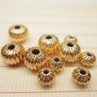 24K Gold Perlen, Messing, Kürbis, 24 K vergoldet, verschiedene Größen vorhanden, frei von Blei & Kadmium, Bohrung:ca. 1-2mm, 10PCs/Tasche, verkauft von Tasche