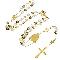Edelstahl-Strickjacke-Kettenhalskette, Edelstahl, mit Kunststoff Perlen, Kreuz, goldfarben plattiert, Christ/ Christin Schmuck & für Frau, 5x6x6mm, 17x22x3mm, 19x30x2mm, verkauft per ca. 26 ZollInch Strang