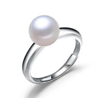 Messing Open -Finger-Ring, mit Natürliche kultivierte Süßwasserperlen, Kartoffel, Platinfarbe platiniert, natürliche & einstellbar, frei von Nickel, Blei & Kadmium, 9-10mm, Größe:8, verkauft von PC