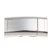 Messing Magnetverschluss, Rechteck, Platinfarbe platiniert, frei von Nickel, Blei & Kadmium, 25x13x8mm, Bohrung:ca. 10x4.5mm, 10PCs/Tasche, verkauft von Tasche