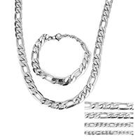 Verfeinern Edelstahl-Schmuck-Sets, Armband & Halskette, Edelstahl, verschiedene Größen vorhanden & Figaro Kette, originale Farbe, Länge:ca. 24 ZollInch, ca. 8 ZollInch, verkauft von setzen