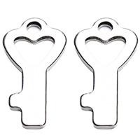Edelstahl -Herz-Anhänger, Herz und Schlüssel, originale Farbe, 8x16mm, Bohrung:ca. 2mm, 100PCs/Tasche, verkauft von Tasche