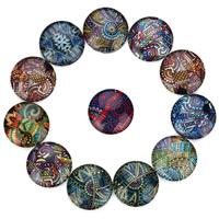 Glas Cabochon, flache Runde, Zeit Edelstein Schmuck & gemischtes Muster & verschiedene Größen vorhanden & mit Blumenmuster & flache Rückseite & Aufkleber, 20PCs/Tasche, verkauft von Tasche