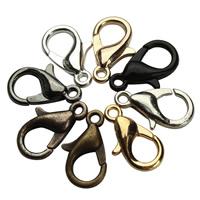 Zinklegierung Karabinerverschluss, plattiert, keine, frei von Blei & Kadmium, 14x7mm, Bohrung:ca. 2mm, 50PCs/Tasche, verkauft von Tasche