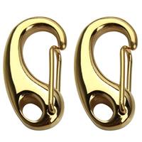 Edelstahl Karabiner Schlüsselanhänger, goldfarben plattiert, 11x21mm, Bohrung:ca. 3mm, verkauft von PC