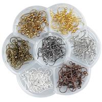 Eisen Ohrhaken, mit Kunststoff Kasten, Blume, plattiert, transparent & 7 Zellen, gemischte Farben, frei von Blei & Kadmium, 18mm, Bohrung:ca. 1.5mm, ca. 140PCs/Box, verkauft von Box