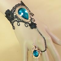 Gothic -Armband-Ring, Spitze, mit Kristall & Zinklegierung, mit Verlängerungskettchen von 2.7lnch, plattiert, einstellbar & für Frau & facettierte, frei von Nickel, Blei & Kadmium, Größe:6, verkauft per ca. 5.1 ZollInch Strang