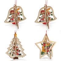 Holz Hängende Dekoration, gefärbt & Weihnachtsschmuck & verschiedene Stile für Wahl, 92x95mm, Bohrung:ca. 1-2mm, 3SträngeStrang/Tasche, verkauft von Tasche