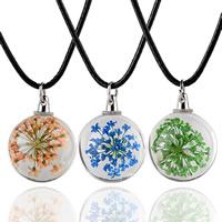 Schwimmende Medaillon Halskette, Glas, mit Gewachste Hanfschnur & Getrocknete Blumen & Eisen, rund, für Frau, keine, 20mm, verkauft per ca. 15.5 ZollInch Strang