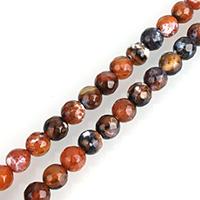 Feuerachat Perle, rund, natürlich, verschiedene Größen vorhanden & facettierte, Bohrung:ca. 1mm, verkauft per ca. 14.5 ZollInch Strang