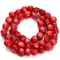 Natürliche Korallen Perlen, Klumpen, rot, 8-10mm, Bohrung:ca. 1mm, ca. 36PCs/Strang, verkauft per ca. 15.5 ZollInch Strang
