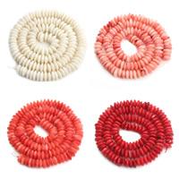 Natürliche Korallen Perlen, Rondell, keine, 6x3mm, Bohrung:ca. 1mm, ca. 130PCs/Strang, verkauft per ca. 15.5 ZollInch Strang