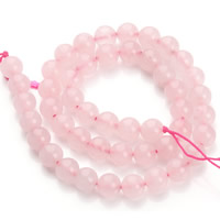 Natürliche Rosenquarz Perlen, rund, verschiedene Größen vorhanden, Bohrung:ca. 1mm, verkauft per ca. 15.5 ZollInch Strang