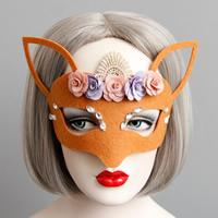 Fashion Party Maske, Filz, mit Seidenspinnerei & Spitze & Satinband & Harz, Halloween Schmuck & facettierte, rote Orange, 135mm, verkauft von PC