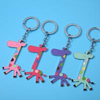 Zinklegierung Schlüssel Verschluss, mit Eisen Ring, Giraffe, Platinfarbe platiniert, Emaille, gemischte Farben, frei von Blei & Kadmium, 78x55mm, Bohrung:ca. 25mm, verkauft von PC