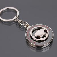 Zinklegierung Schlüssel Verschluss, mit Eisen Ring, Lenkrad, Platinfarbe platiniert, mit einem Muster von Nummer & Emaille, frei von Blei & Kadmium, 110x4.2mm, Bohrung:ca. 25mm, verkauft von PC